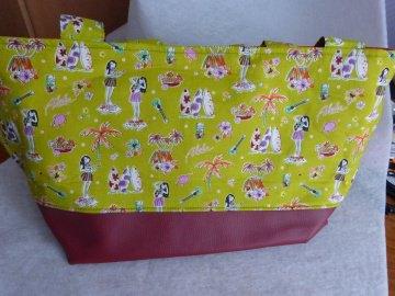 Strandtasche / Einkaufstasche  aus Kunstleder und Baumwollstoff mit Strandmotiven von mir genäht