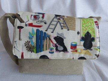 Süsse kleine Kindertasche mit Maulwürfen aus Stoff - handgenäht - Handarbeit kaufen