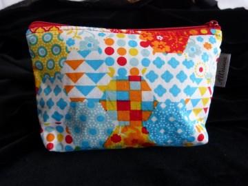 Kleine Kosmetiktasche aus Baumwollstoff hellblau - Handarbeit kaufen