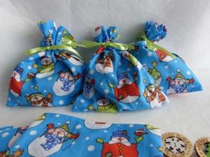 Adventskalender aus 24 Baumwollsäckchen mit süßen Schneemännern ca. 15 x 17 cm - Handarbeit kaufen