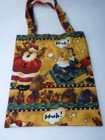 kleine handgenähte Baumwolltasche mit Weihnachtsmann   - Handarbeit kaufen