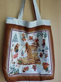 Wendetasche / Einkaufstasche aus Baumwolle genäht - Wintermotiv