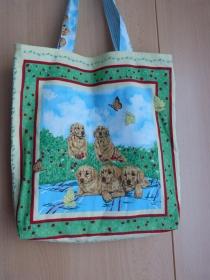 Wendetasche / Einkaufstasche aus Baumwollstoff - Hundefamilie