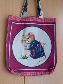 Wendetasche / Einkaufstasche aus Baumwollstoff - süßes Mäuschen mit Blumen