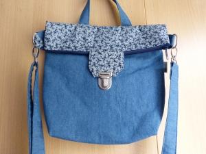 große Umhängetasche ca. 29cm  mit Reißverschluss und Steckverschluß blauer Jeansstoff - Handarbeit kaufen