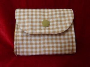 kleine Geldbörse aus Baumwollstoff mit Reißverschlussfach braun kariert - Handarbeit kaufen