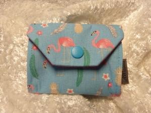 kleine Geldbörse aus Baumwollstoff mit Reißverschlussfach hellblau mit rosa Flamingo - Handarbeit kaufen