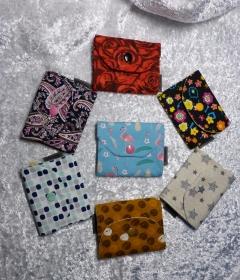 verschiedene kleine Geldbörsen aus Baumwollstoff mit Reißverschlussfach   - Handarbeit kaufen
