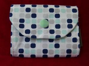 kleine Geldbörse aus Baumwollstoff mit Reißverschlussfach  weiß - mint - blau - Handarbeit kaufen