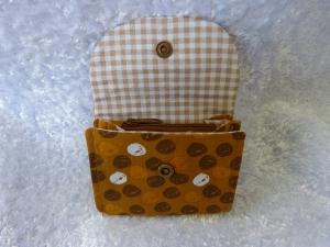 kleine Geldbörse aus Baumwollstoff mit Reißverschlussfach ocker mit braunen und weissen Farbklecksen - Handarbeit kaufen