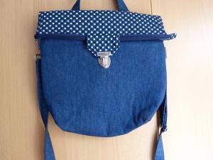 große Umhängetasche ca. 29cm  mit Reißverschluss und Steckverschluß blauer Jeansstoff und Punkten - Handarbeit kaufen