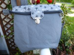 große sichere Umhängetasche ca. 29cm  mit Reißverschluss und Steckverschluß grau mit Pusteblumen - Handarbeit kaufen