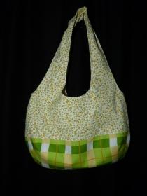 Frühlingshafte einfache offene Umhängetasche als Wendetasche gelb/grün - Handarbeit kaufen