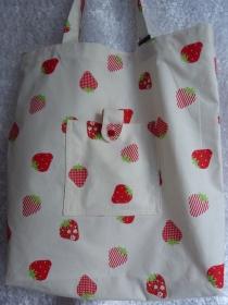 Einkaufstasche aus Baumwolle zusammenfaltbar Erdbeere