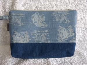 Kulturtasche Baumwollstoff und Jeansstoff  - blau  - Handarbeit kaufen