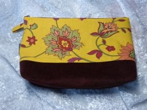 Kulturtasche Baumwollstoff  genäht - gelb und dunkelrot  - Handarbeit kaufen