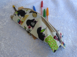 3-Eck-Täschchen Stiftemäppchen  Baumwollstoff  Maulwurf