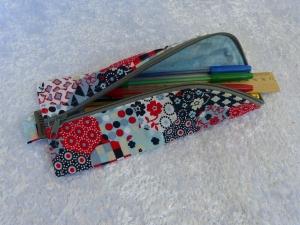 3-Eck-Täschchen Stiftemäppchen  Baumwollstoff blau bunt - Handarbeit kaufen