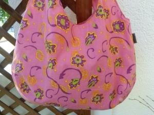 Einfache offene Umhängetasche als Wendetasche in rosa / pink  - Handarbeit kaufen
