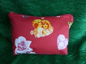 Kleine Kosmetiktasche aus Baumwollstoff rot mit Herz, Rose und Engel - Handarbeit kaufen