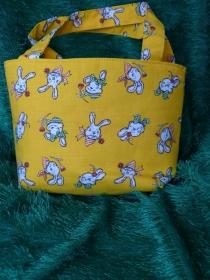 Ostertasche - kleine Einkaufstasche gelb mit lustigen Hasenköpfen - Handarbeit kaufen