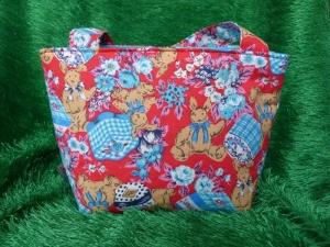 Ostertasche - kleine Einkaufstasche rot mit braunen Hasen - Handarbeit kaufen