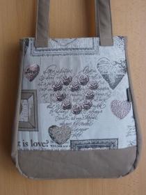 Umhängetasche für den kleinen Einkauf - Shopping Bag -  This is Love - Handarbeit kaufen
