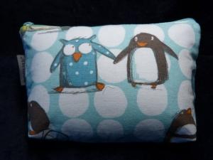 Kleine Kosmetiktasche aus Baumwollstoff mit lustigen Pinguinen - Handarbeit kaufen