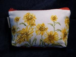 Kleine Kosmetiktasche aus Baumwollstoff Sonnenblumen - Handarbeit kaufen