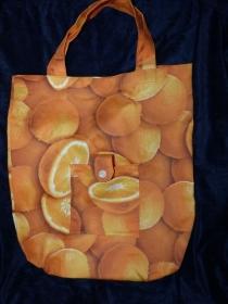 Einkaufstasche aus Baumwolle zusammenfaltbar - Orange / Apfelsine - Handarbeit kaufen