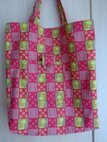 Einkaufstasche aus Baumwolle zusammenfaltbar - rot und rosa kariert mit Muster - Handarbeit kaufen