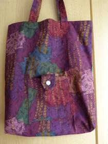 Einkaufstasche aus Baumwolle zusammenfaltbar - Weinrot mit Muster - Handarbeit kaufen