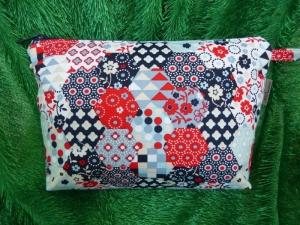 Kulturtasche aus Baumwollstoff Hexagramm blau / grau / rot