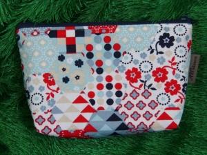 Kleine Kosmetiktasche aus Baumwollstoff  Hexagramm blau/grau/rot - Handarbeit kaufen