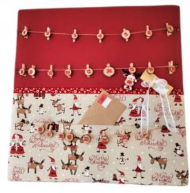 Adventskalender 70x70cm vers. weihnachtliche Motive zum selbstbefüllen - Pinnwand