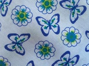 ✂   Baumwolle - Schmetterlinge, blau oder grün