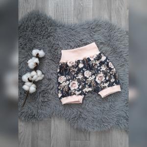 kurze Pumphose / Hose / Kinderhose in Gr80/92 - Jersey Rosen/Schlüssel rosa - Handarbeit kaufen