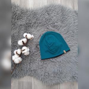 Mütze / Beanie / Wendebeanie Baby  - KU43-45cm -  Jersey Punkte grün  - Handarbeit kaufen