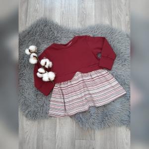 Girlysweater / Sweater / Tunika Mädchen Gr86  - Sweat  Bordeaux Streifen - Handarbeit kaufen