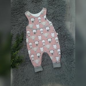 Newborn Strampler Baby Gr56  - Jersey Tiere altrosa - Handarbeit kaufen