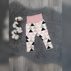 Leggings Baby Gr62 - Jersey Dreiecke rosa/gold/schwarz - Handarbeit kaufen