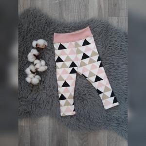 Leggings Baby/Kind Gr74 - Jersey Dreiecke rosa/gold/schwarz - Handarbeit kaufen