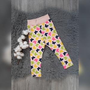 Leggings Baby/Kind Gr80 - Jersey Schmetterlinge rosa/neon/bunt - Handarbeit kaufen