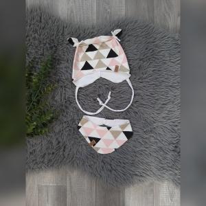 Set Newborn Mütze / Bärchenmütze & Wendehalstuch - KU36-38cm -  Jersey  Dreiecke gold/rosa/weiß - Handarbeit kaufen
