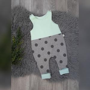 Baby Strampler Gr62 - Jersey Punkte grau / mint - Handarbeit kaufen