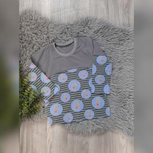Pullover/ Sweater / Langarmshirt Gr86/92 - Jersey Hippo grau - Handarbeit kaufen