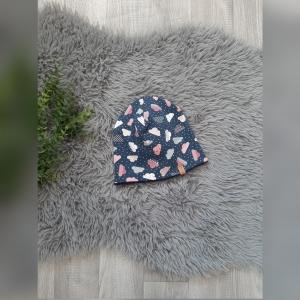 Beanie / Fleecemütze / Wintermütze Baby/Kind - KU 46-48cm - Jersey/Fleece Wolken bunt/marine - Handarbeit kaufen
