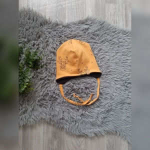 Beanie / Fleecemütze / Wintermütze Baby/Kind - KU 43-45cm - Sweat/Fleece Hirsch senf  - Handarbeit kaufen