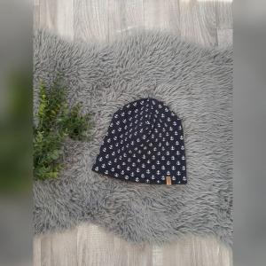 Beanie / Fleecemütze / Wintermütze Baby/Kind - KU 49-51cm - Jersey/Fleece Anker maritim  - Handarbeit kaufen