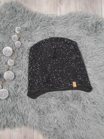 Beanie / Fleecemütze / Wintermütze Kind - KU 52-55cm - Jersey/Fleece Sprengel schwarz - Handarbeit kaufen